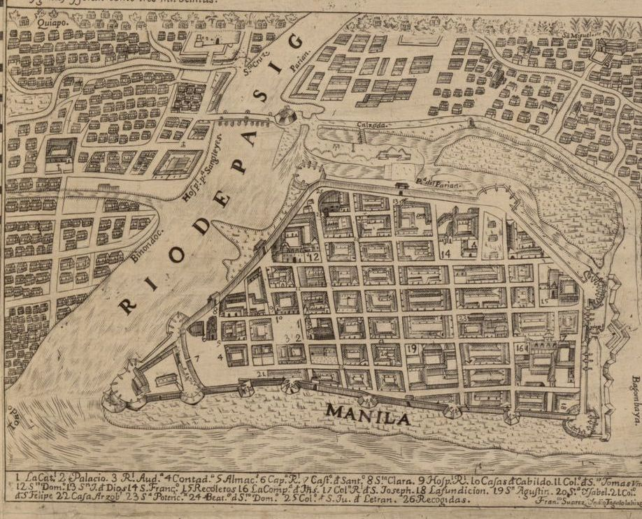 Drawing of a map of Manilla