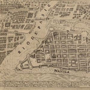 Close up of Manilla on Philippines map