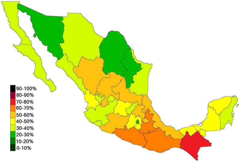 People living in poverty under the Mexican poverty definition.