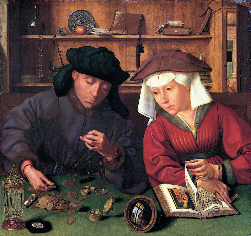 Painting of a man weighing coins on a scale and a woman sitting next to him.
