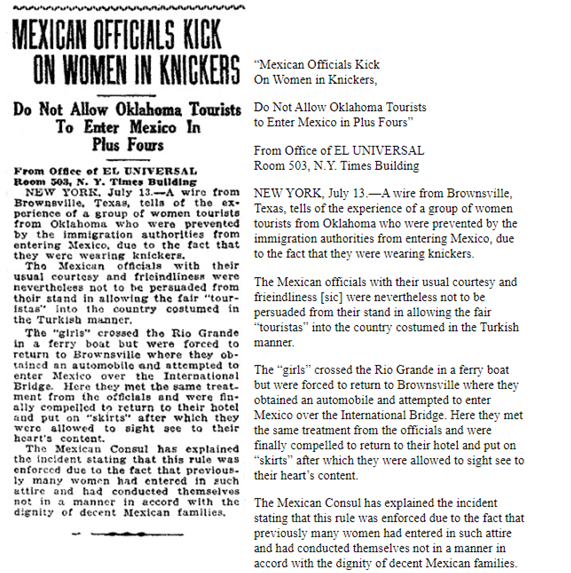 """""""Mexican Officials Kick On Women in Knickers, Do not allow Oklahoma Tourists to Enter Mexico in Plus Fours,"""" Mexico City, 14 July 1924"""