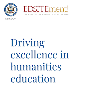 "Shows edsitement logo and ""Driving excellence in humanities education"""