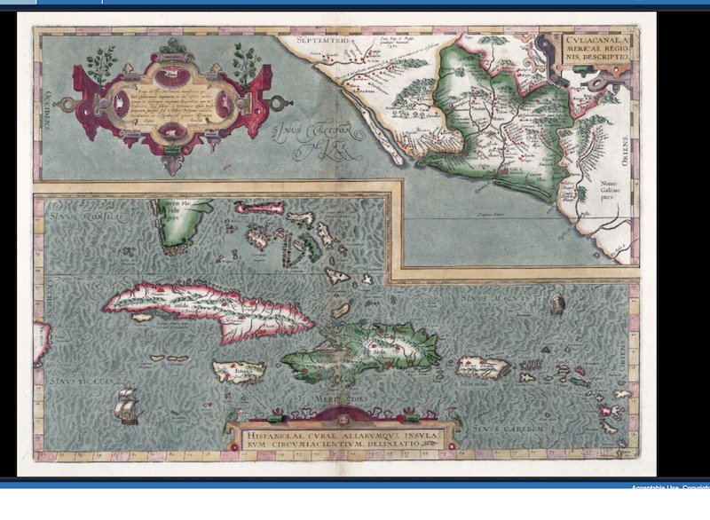 Cvliacanae, Americae regionis, descriptio. Hispaniolae, Cvbae, aliarvmqve insvlarvm circvmiacientivm, delineatio. Credit: dLOC