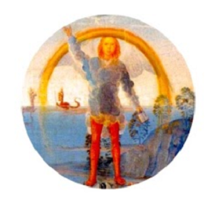 Circular medieval painting of a man raising his right arm