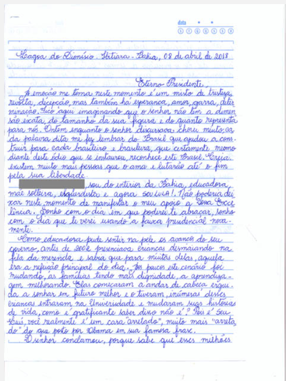 Screenshot of a handwritten letter, blue ink on lined paper