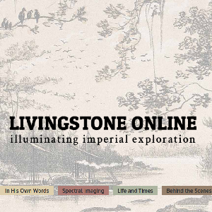 Black text reading Livingstone Online in large font, followed by the subheading illuminating imperial exploration. The background is a litograph of a steamboat on a river.