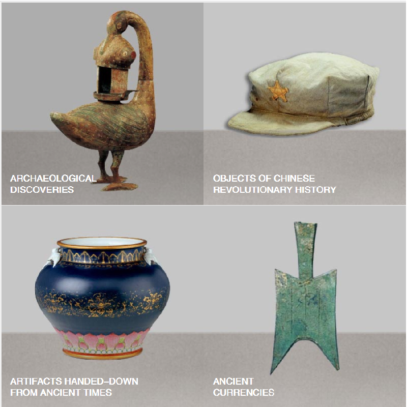 Two by two grid showing four artefacts. Clockwise from top left, these are a bronze lamp in the shape of a goose, an octagonal hat, a blue glazed porcelain vessel, and a spade-shaped coin.