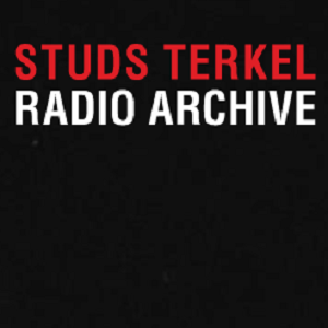 Red and white text reading 'Studs Terkel Radio Archive' on a black background.