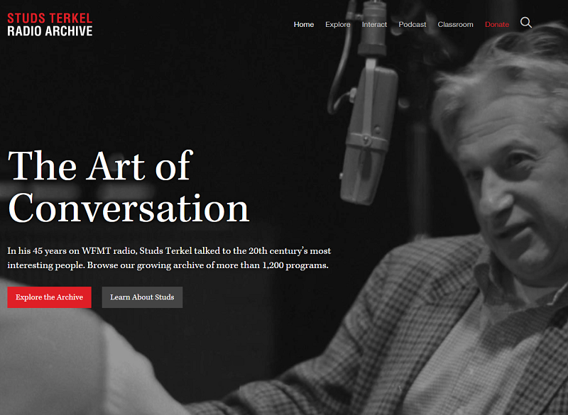 Black and white image of Studs Terkel mid-interview in front of a microphone, with 'The Art of Conversation' in white font to his left.