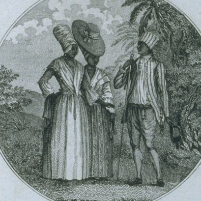 Black and white engraving of free people of colour in Saint Dominigue, two women and a man.
