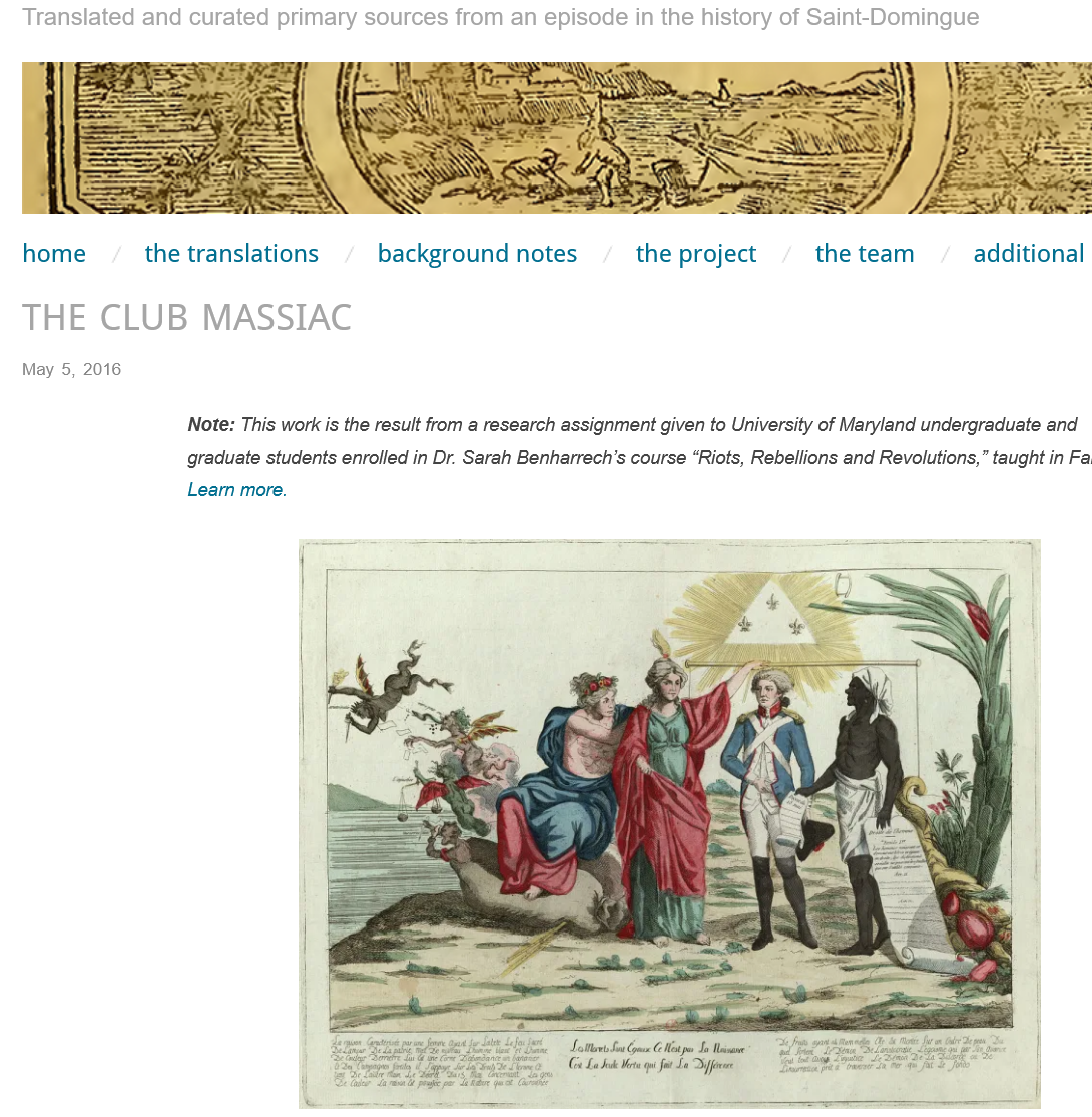 """Screenshot showing an unnamed engraving as the main banner, navigation bars, and a colour image of the """"Society of the Friends of the Black"""""""