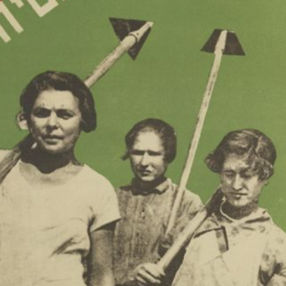 Three youth carrying hoes against a green background
