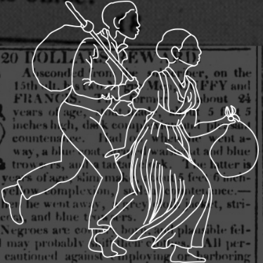 Outline of a man and woman running away, set against a background of advertisements.