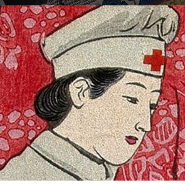 Ilustration of a nurse against a red background