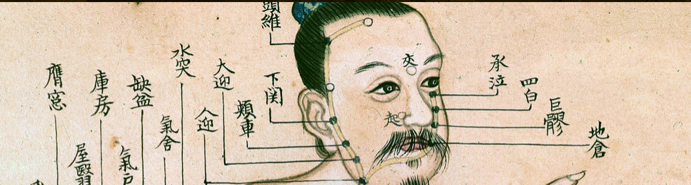 Ilustration of a Chinese man, accompanied by Chinese text that indicates various medical terminology.