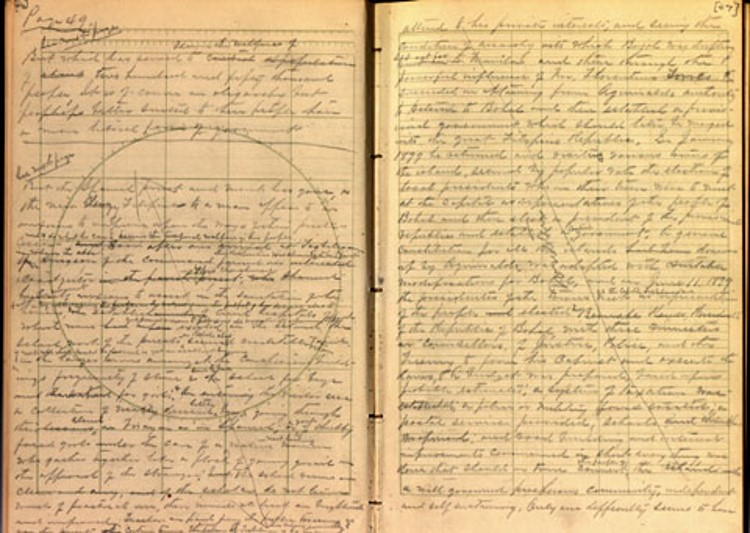 Scan of pages 46 and 47 of George Percival Scriven's diary