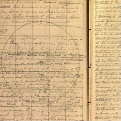 Detail: Scan of pages 46 and 47 of George Percival Scriven's diary