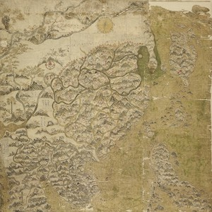 Hand drawn map showing islands with mountains