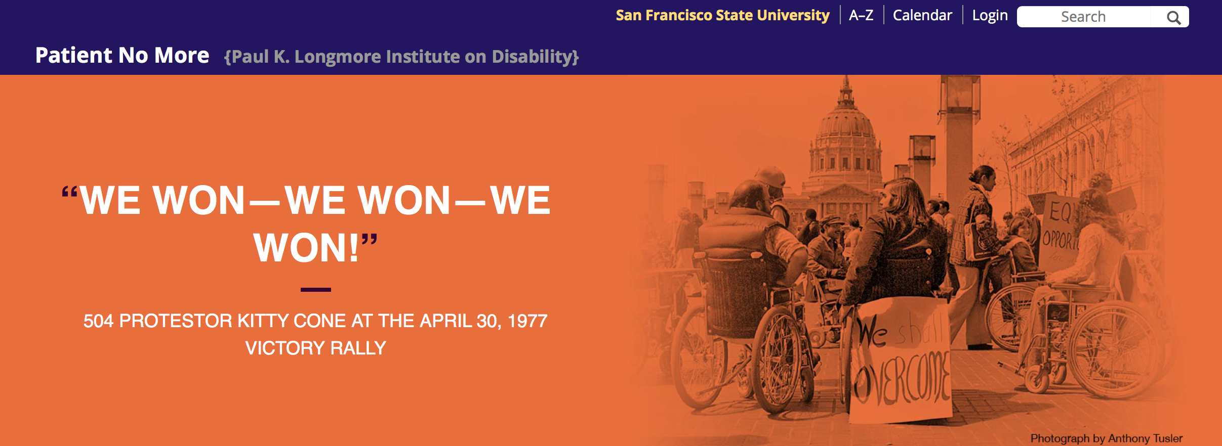 "Website screenshot with the quote ""We won — we won — we won!"" on the left and an image on the right of protestors with disabilities"