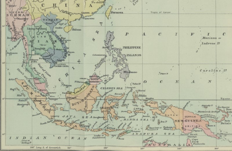 A map of southeast Asia showing different colonial holdings