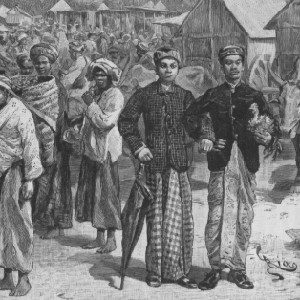 "Detail of a print showing a market place titled ""Un an en Malaisie"" from 1889/1890"