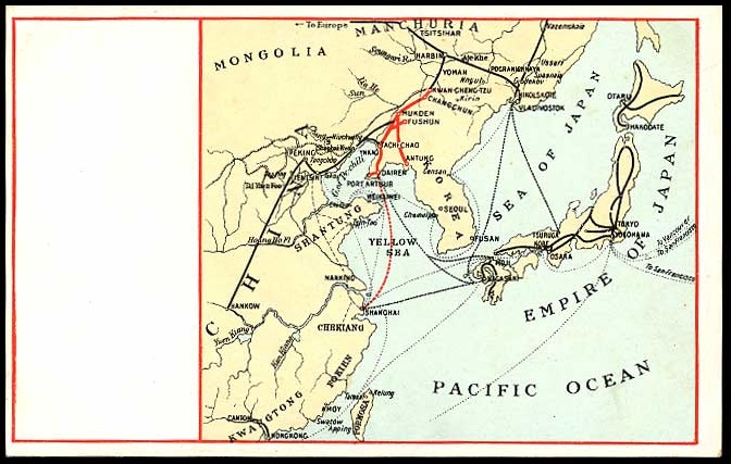 Map showing railways across Eastern China, Korea, and Japan