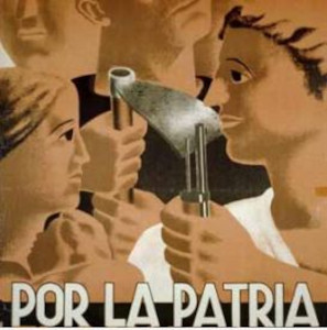 """Collage of faces of men, women, children; one person is holding a rifle, another is holding a farm tool; the words at the bottom read """"Por La Patria."""""""