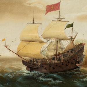 Painting of a Spanish Galleon at sea firing its canons