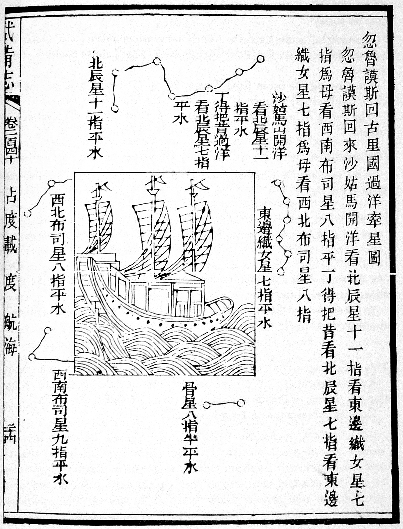 Stellar diagram features a drawing of a ship surrounded by Chinese characters
