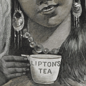Close up image of an Indian girl in traditional northern Indian hill attire holding a cup of tea that says Lipton's tea