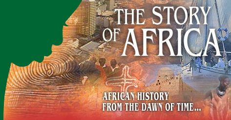 """Image of the website header reading """"The Story of Africa: African History from the Dawn of Time"""""""