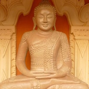 Image of a Buddha statue in the lecture hall of Sitague Buddist Academy