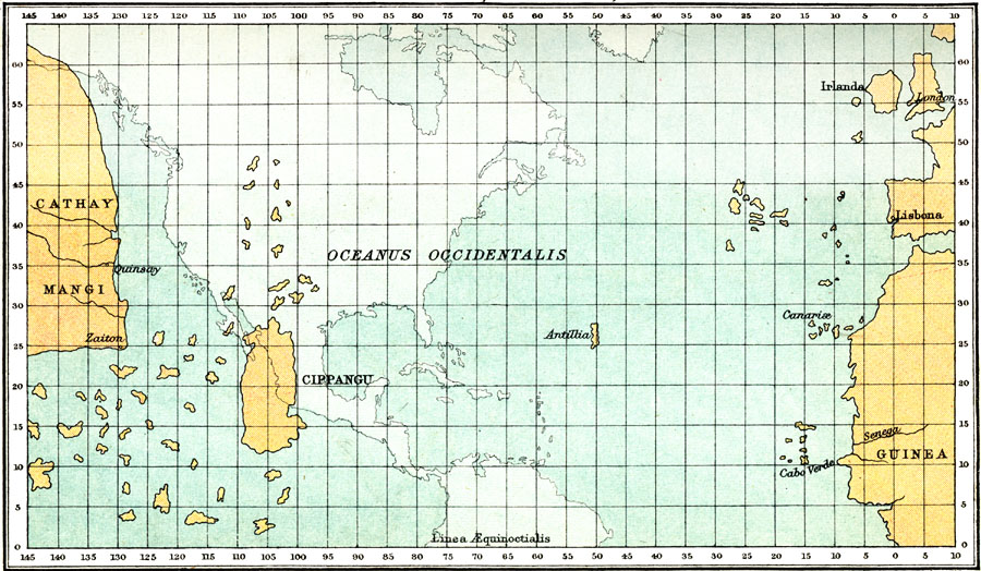 John Bartholomew modern rendering of Toscanelli 1474 map