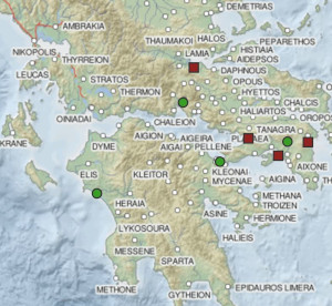 Color map of a portion of Greece, which some locations marked by red and green squares