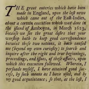 Pamphlet on the Amboyna case