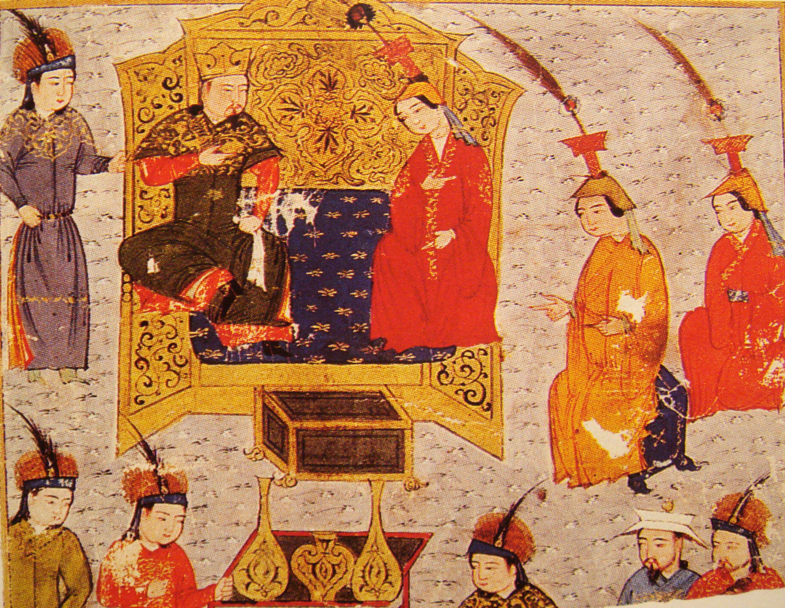 Painting shows king and queen surrounded by others at court