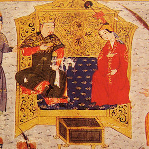 Painting shows king and queen at court