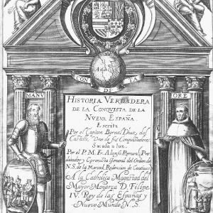 Detail from the title page of The True History of the Conquest of New Spain by Bernal Díaz del Castillo