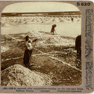 A reservoir after evaporation – turning up the salt – salt fields, Solinen, Russia