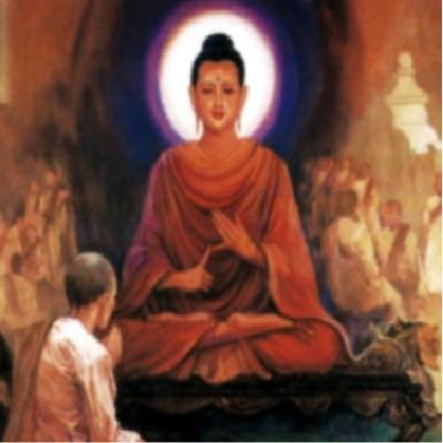 Image of a monk praying before Buddha