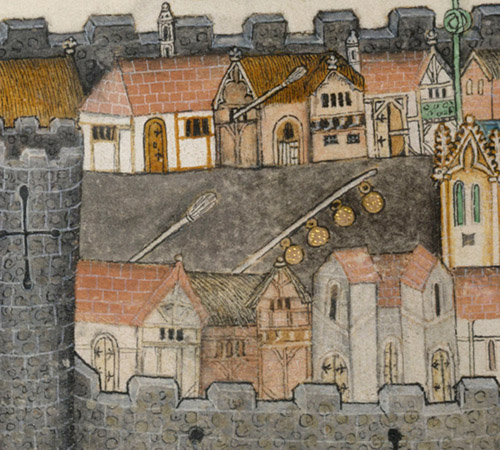 Drawing of several buildings surrounded by a wall