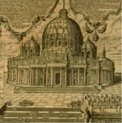 Detail of an engraving showing Saint Peter's cathedral ca. 1587