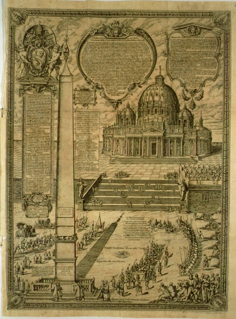 Engraving of the Vatican Obelisk in front of Saint Peter's from ca. 1587