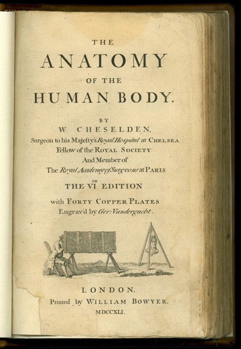 Title page of William Cheselden's The Anatomy of the Human Body