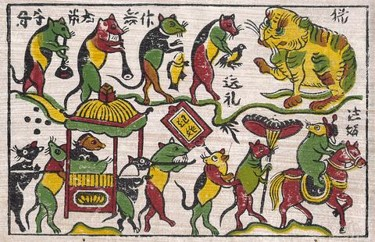 An example of Vietnamese folk art, Dong Ho woodblock printing, showing a cat and rats