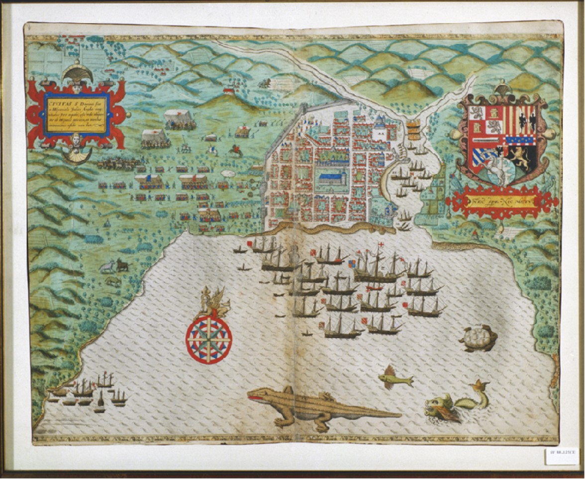 1589 image showing a pirate attack of the port Santo Domingo