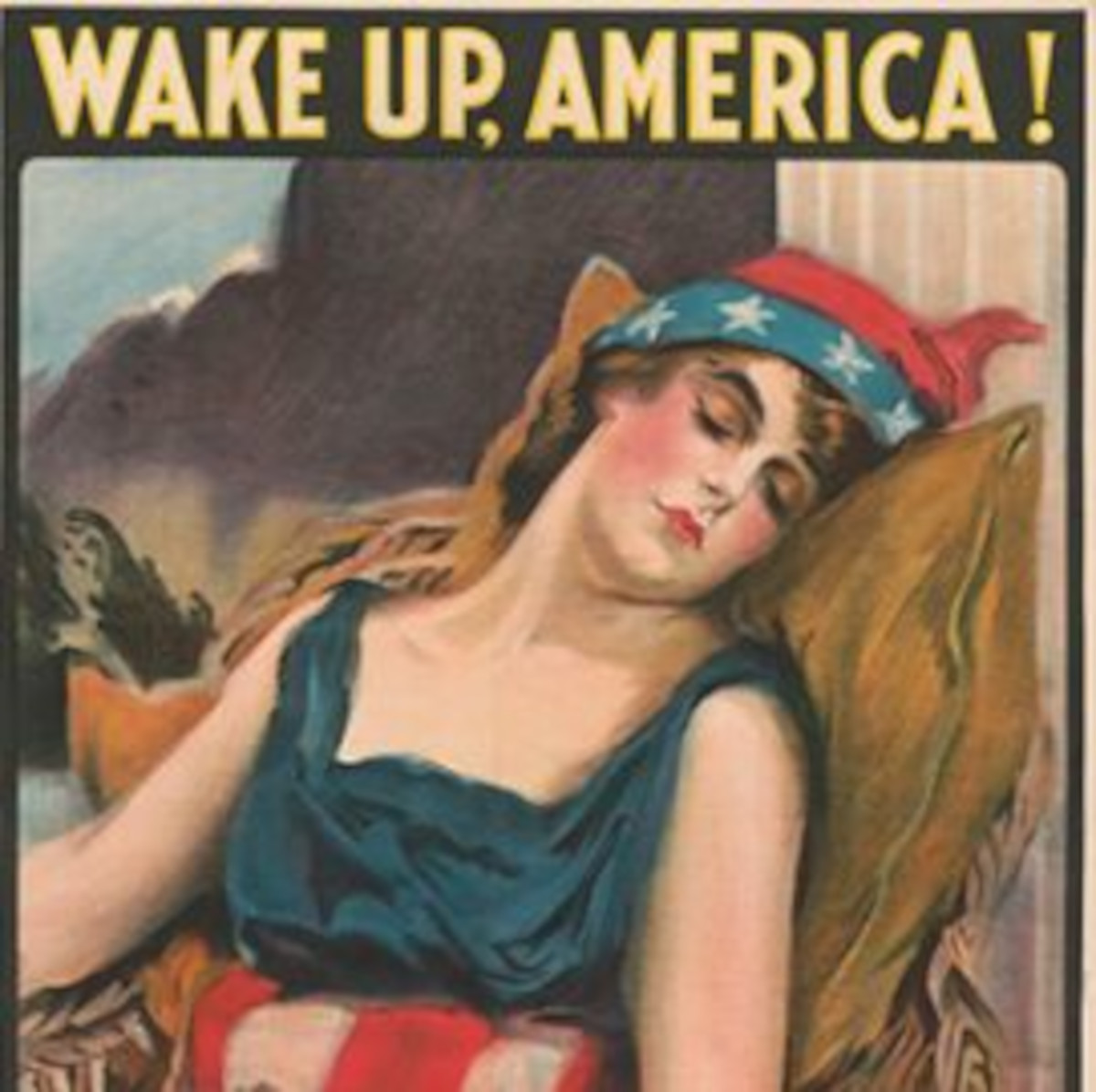 Poster shows a woman dressed in Stars & Stripes, symbolizing America asleep.