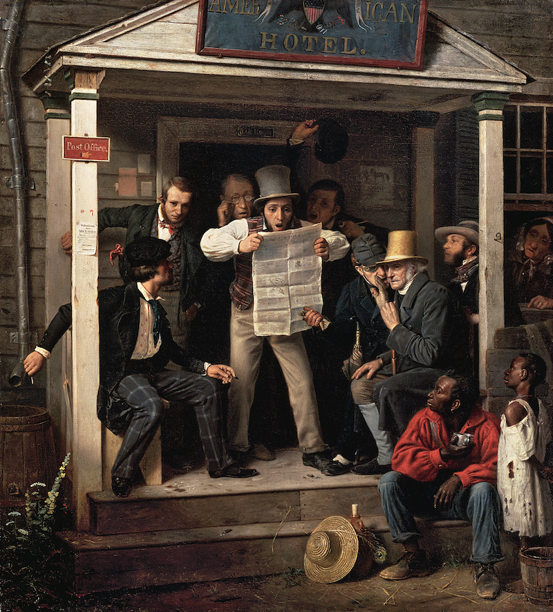 Painting of men on a stoop reading a newspaper with shocked expressions surrounded by