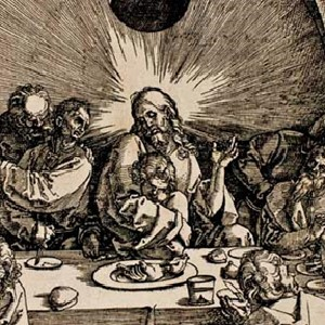 "Detail of Durer's ""Last Supper"" from his Passion series showing Jesus holding one of his disciples"