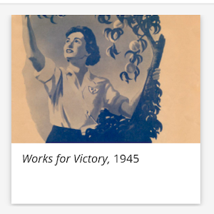 Vintage illustration of a woman plucking fruit, with the words Works for Victory, 1945 below in italicised font